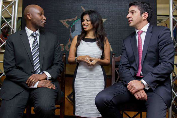 mCheza CEO Peter Karimi (left), Acumen Communications Limited Director Julie Gichuru (centre) and Intralot vice-president - Business Development Europe and Africa Antonis Markopoulos| Photo Courtesy (Daily Nation)  uliza